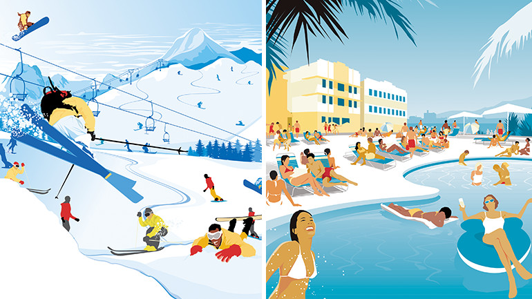 Examples of our illustration for Expedia.